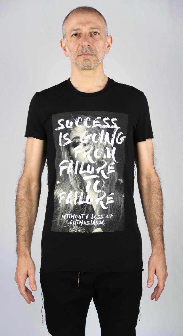 Cotton Round-binder neck T-shirt<Darkest Hour1><C#BK>