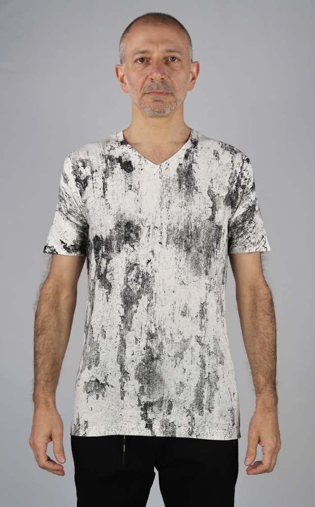 Cotton,Rayon V-neck T-shirt<Invisible><C#Offwhite>