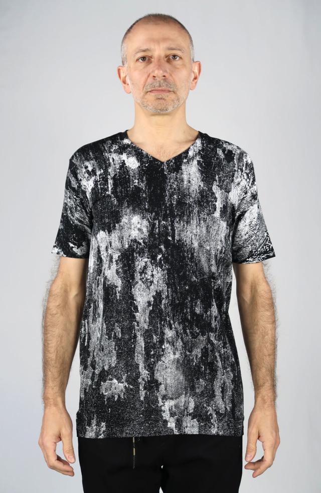 Cotton,Rayon V-neck T-shirt<Invisible><C#BK>