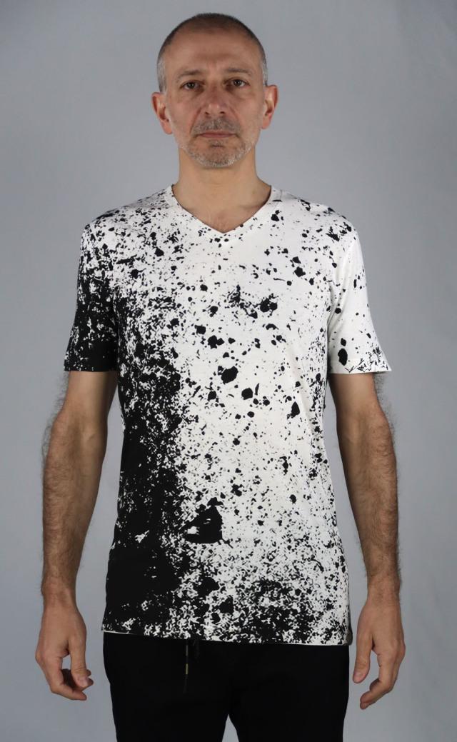 Cotton,Rayon V-neck T-shirt<Noir Eclipse><C#Offwhite>