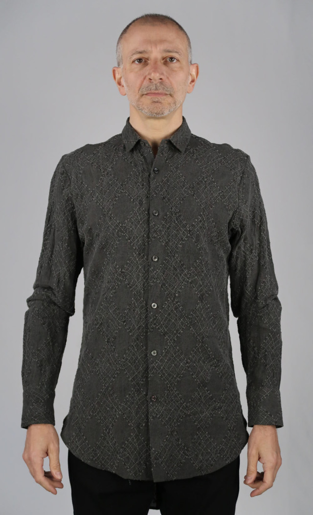 Linen Argyll Embroidery Shirt<C# Charcoal>