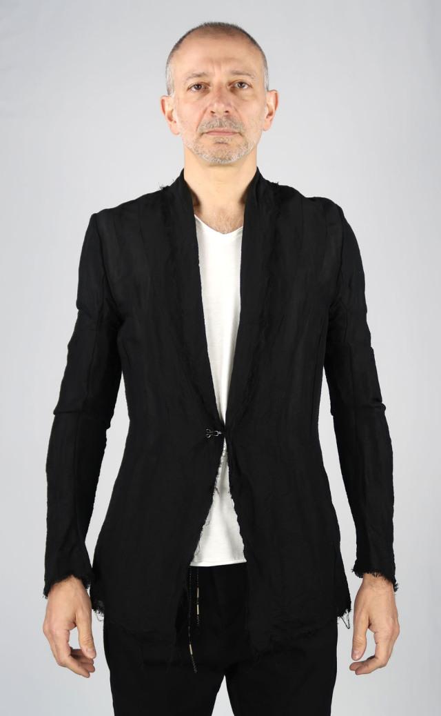 Linen Stretch Chambray Jacket <C# BK>