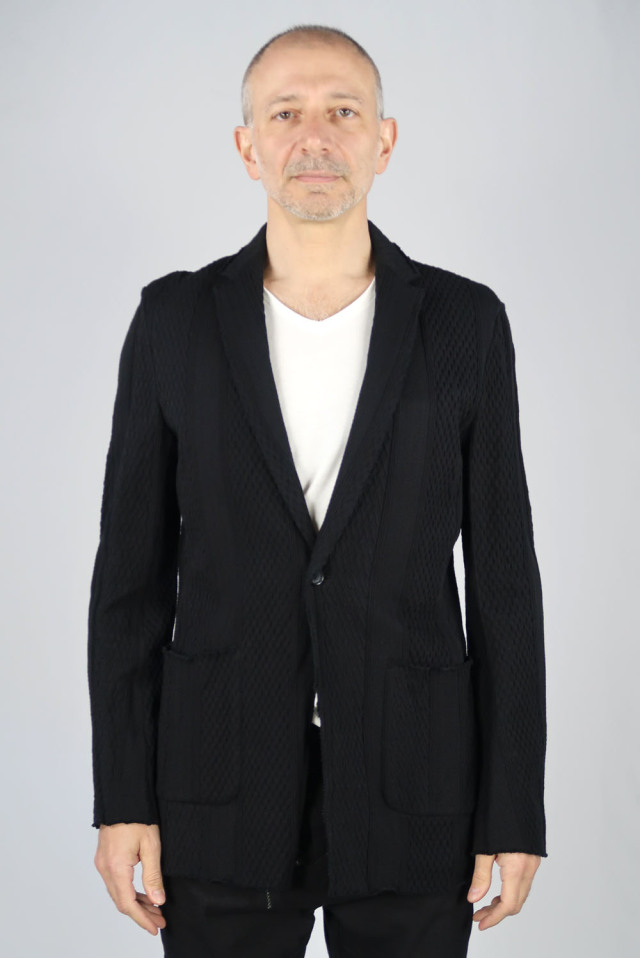 Cable Jacquard Knit Tailored Jacket
