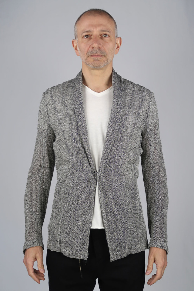 Rayon,Linen Leno Cloth Cardigan Jacket<C# WH*BK>