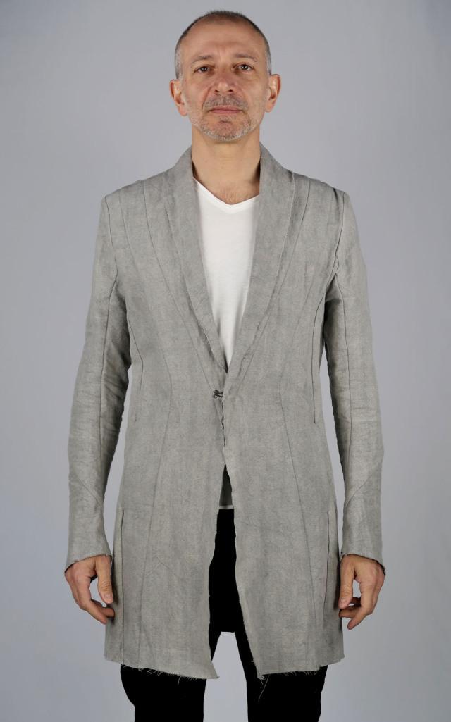 Linen,Washi Long Cardigan Jacket<C# Gray>