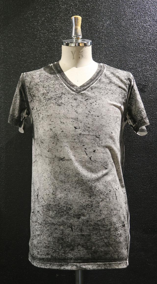 Cotton,Rayon V-neck T-shirt<Ash to Ash>