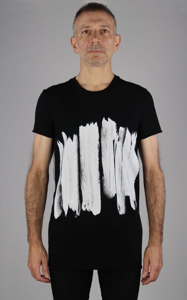 Cotton,Rayon Round-binder neck T-shirt<Brush>
