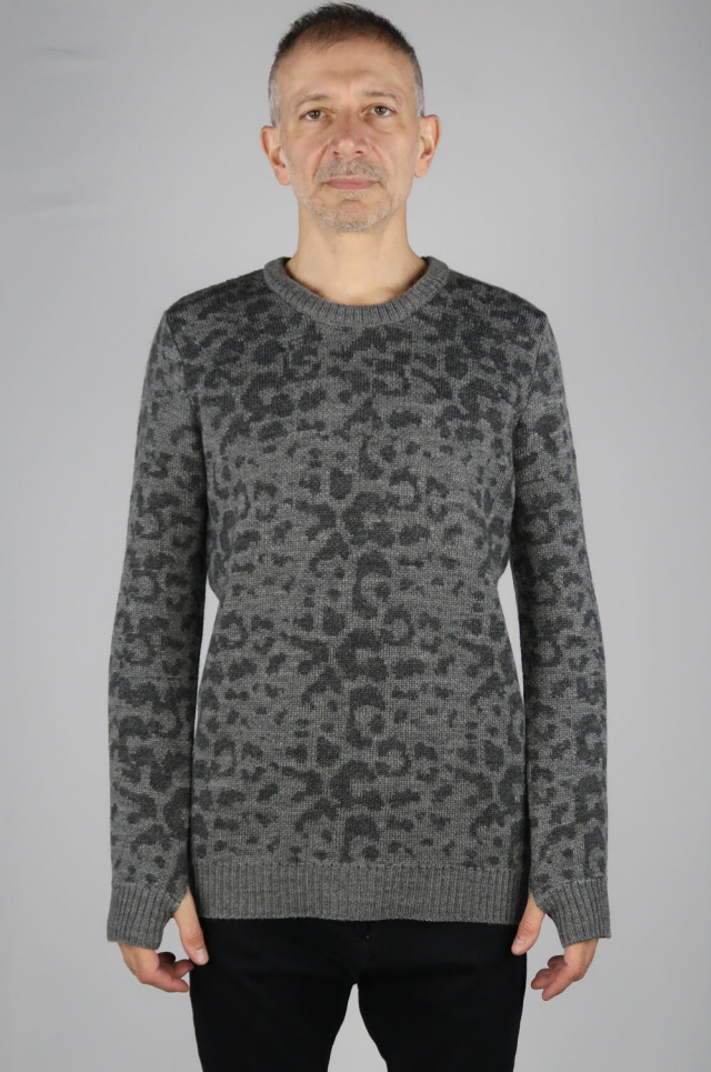 Leopard Print Jacquard Pullover Knit