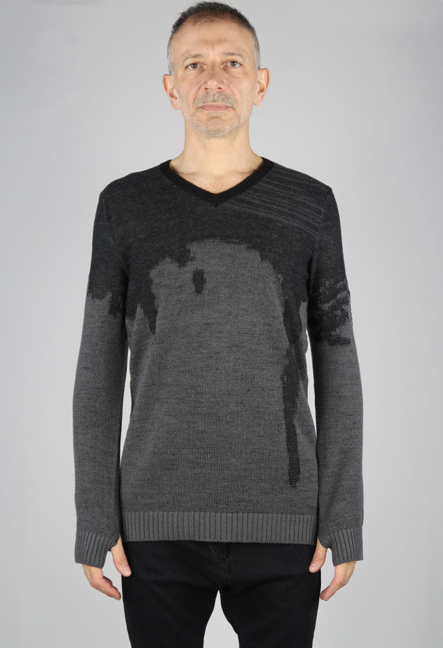 Wool,Acrylic Jacquard Pullover Knit