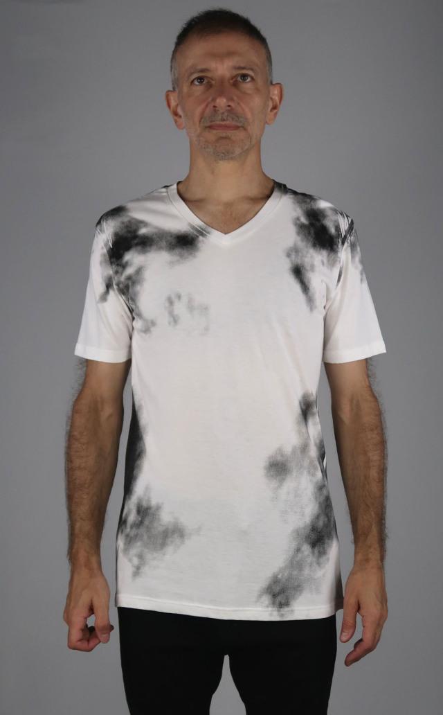 Cotton,Rayon V-neck T-shirt<C# OffWhite>