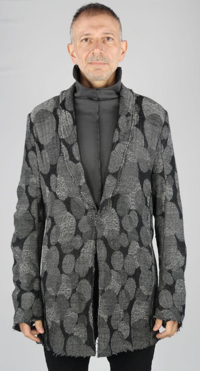 Wool Gauze Jacquard Long Cardigan Jacket