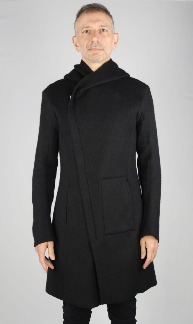 Shaggy Knit Hooded Coat