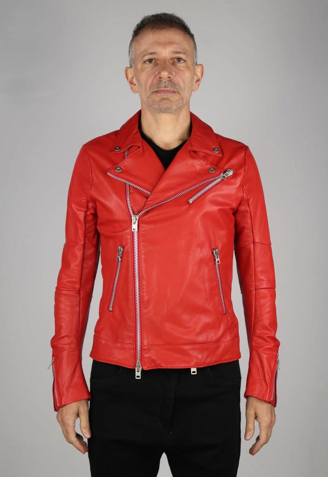 Goat Leather Double-front Blouson <C#RD>