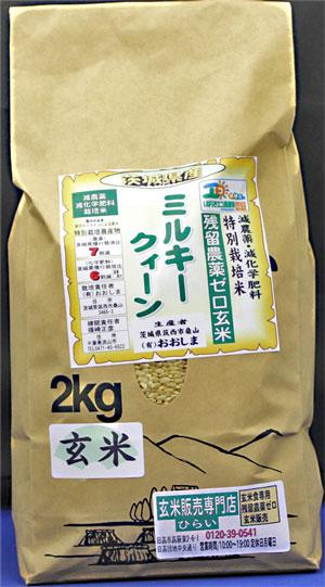 令和3年産 残留農薬ゼロ玄米 茨城県産ミルキークィーン2kg 玄米食最適米!