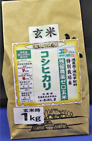 令和2年産 残留農薬ゼロ玄米 「茨城県産コシヒカリ1kg」 玄米食最適米!