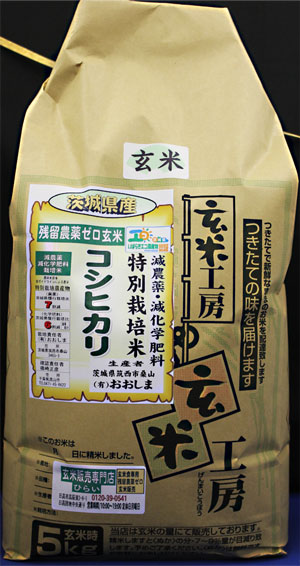 30年産 残留農薬ゼロ玄米 「茨城県産コシヒカリ5kg」 玄米食最適米!