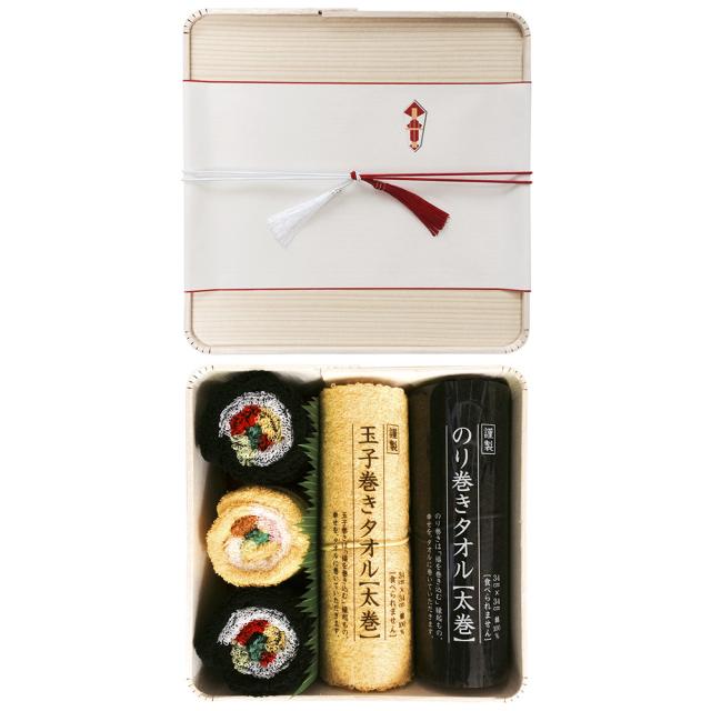 のり巻きタオル 木製折箱ギフトセット(中)