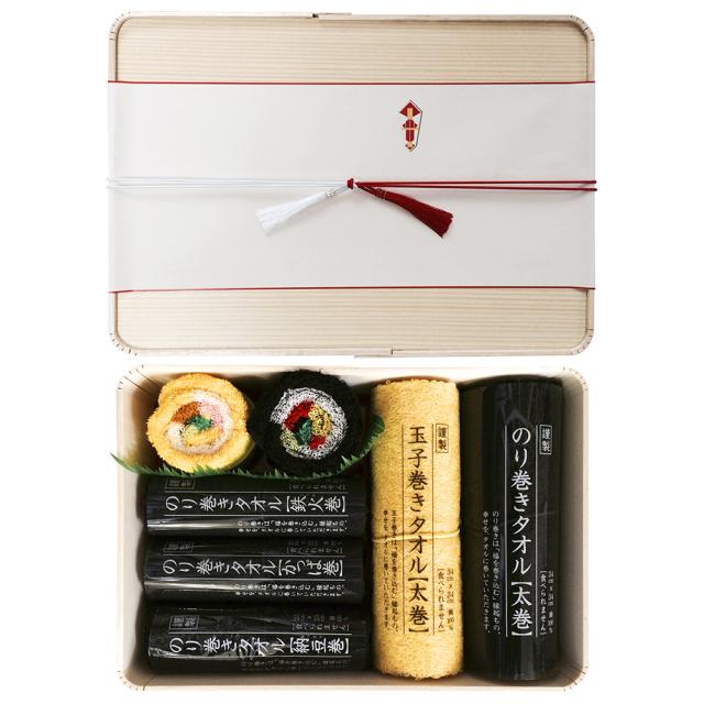 のり巻きタオル 木製折箱ギフトセット(大)