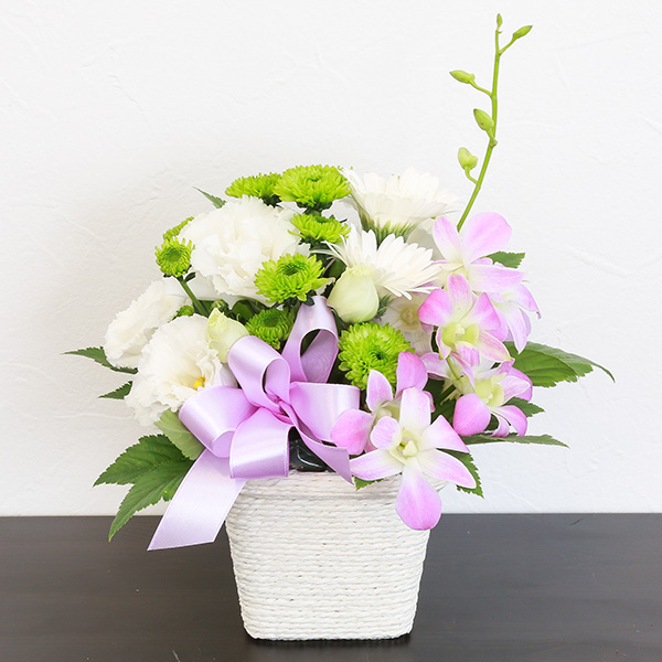 お供え花 3,500円タイプ 生花アレンジ 線香セット