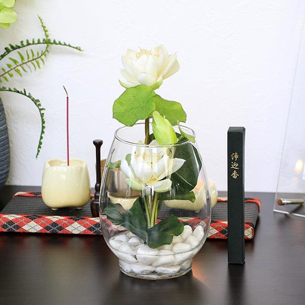 お供え アートフラワー 蓮ガラスアレンジ (白) 線香セット