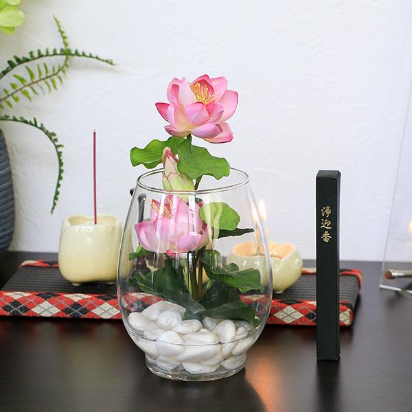 お供え アートフラワー 蓮ガラスアレンジ (ピンク) 線香セット