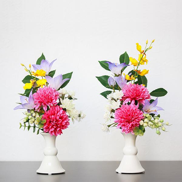 アートフラワー 仏花 お供え花 1対(2本入り) 線香セット