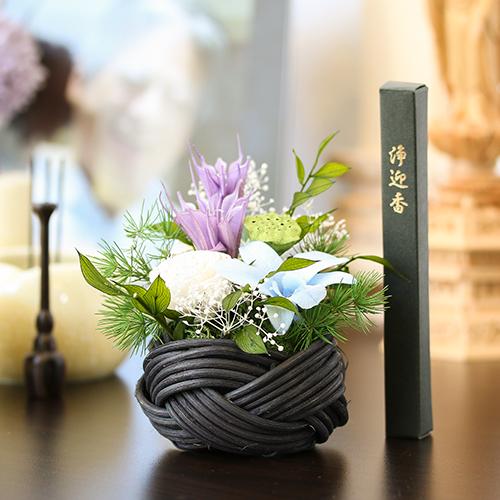 仏花 花つつみ お供えプリザーブドフラワー 線香セット