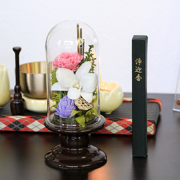 仏花 お供えガラスドームプリザーブドフラワー 線香セット (白・ピンク)