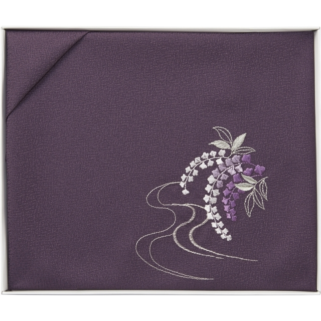 洛北 刺繍入り二巾風呂敷 (紫) (H031b)<C1078155>