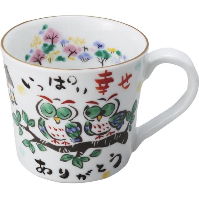 夕立窯 感謝 マグカップ(木箱入り) (ふくろう) (YK571)<C1165014>