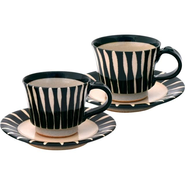 匠魅 黒十草 コーヒーペア碗皿(160250) <C2164536>