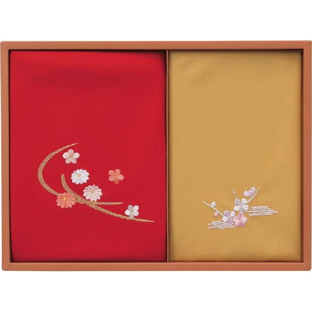 洛北 刺繍入り二巾風呂敷&金封包み(赤/金茶)(250-50A)