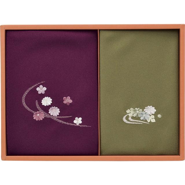 洛北 刺繍入り二巾風呂敷&金封包み(紫/利久)(250-50B)