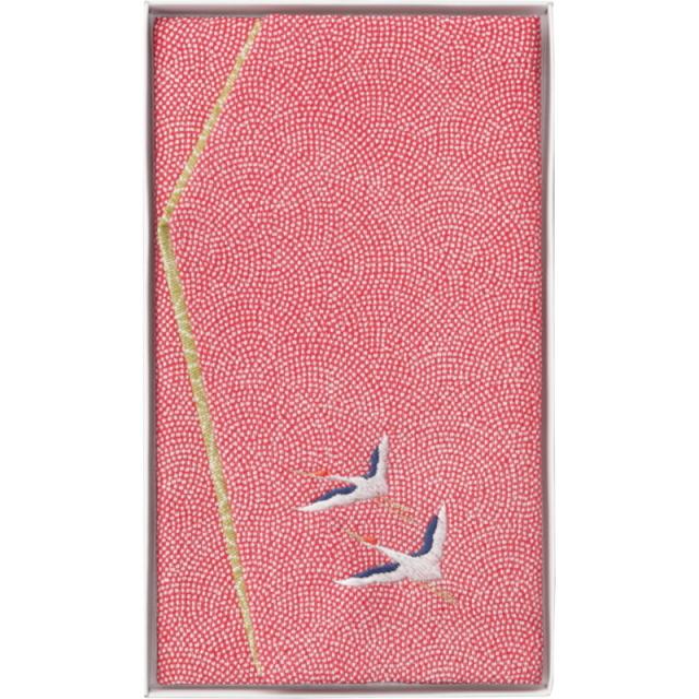 洛北 刺繍入り金封ふくさ(赤鶴)(H033A)