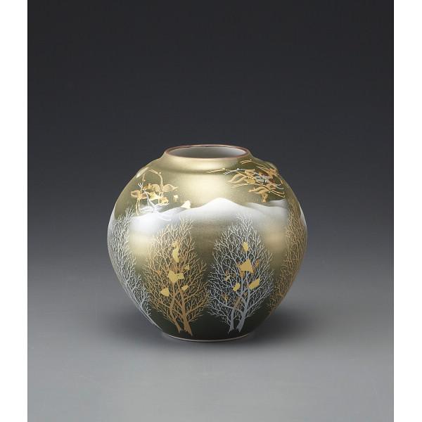 九谷焼 金箔彩木立鶴連山 5号花瓶   130542