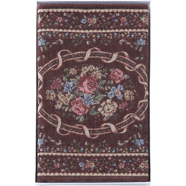 シェニール織玄関マット(50×80┣cm┫) ブラウン