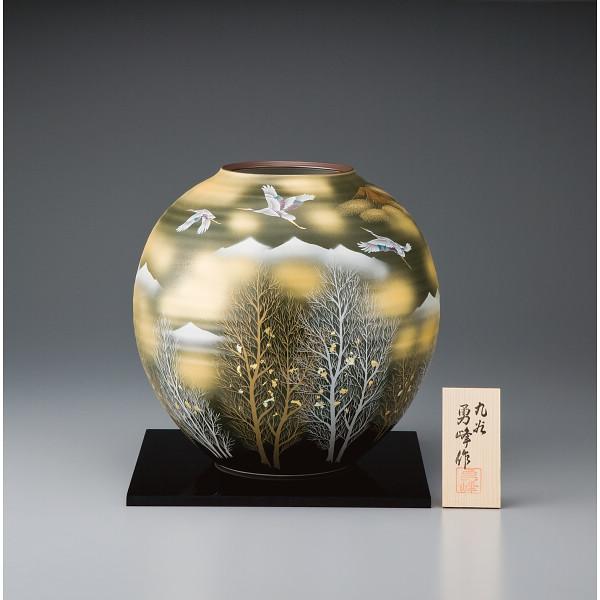 九谷焼 金彩木立連山に鶴 9号花瓶