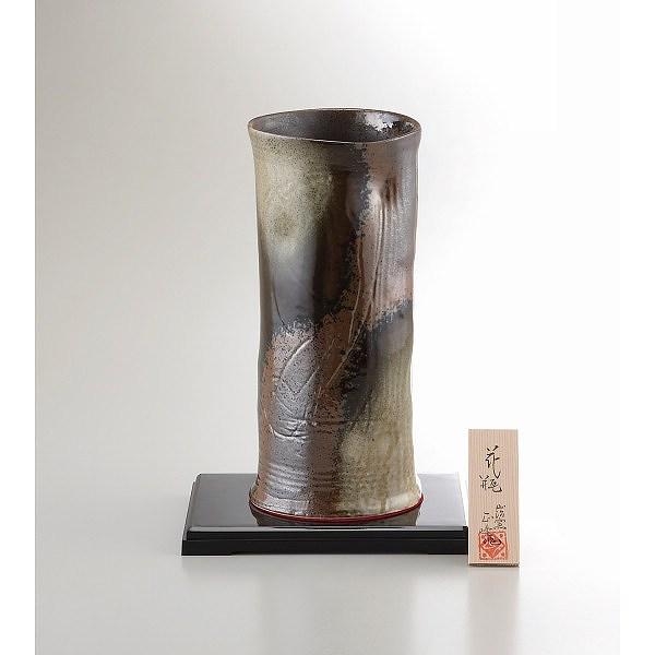 美濃焼 9号黒伊賀筒型花瓶 オリベ吹き   YJ15-03