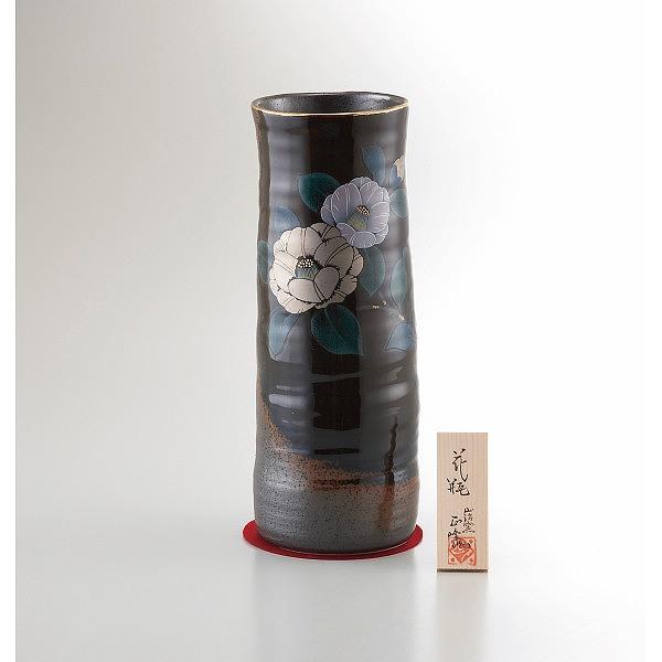美濃焼 10号黒伊賀長花瓶 プラチナ山茶花   YJ15-05