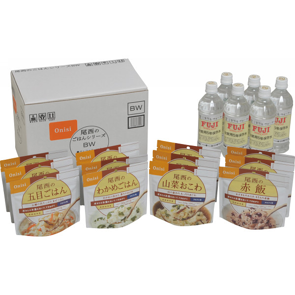 尾西食品の和風メニュー+お水セット   SE×12BW