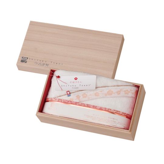 【25%オフ】今治謹製 至福タオル(梅染め) 木箱入り バスタオル1枚 SH3435 ホワイト(今治産)