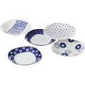 藍丸紋 パスタ&カレー皿5枚揃   13306