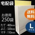 宅配袋 お徳用【L(大)サイズ 250枚】【送料無料】シール付 宅配用袋 ホワイト