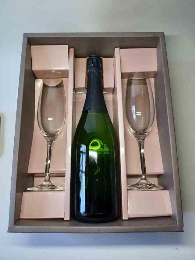 スパークリングワイン白×グラス2脚セット(エクセレンス)