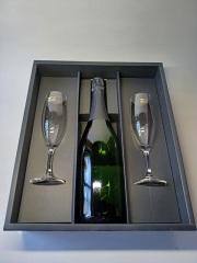 スパークリングワイン白×グラス(強化ガラス)2脚セット