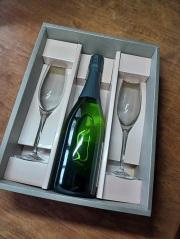 スパークリングワイン白×グラス2脚セット(ペルル)