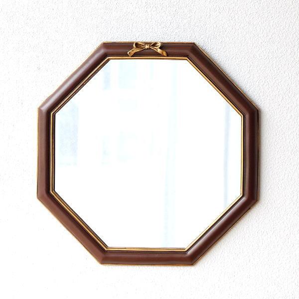 鏡 壁掛けミラー 八角形 八角ミラー 八角鏡 おしゃれ アンティーク クラシック シンプル 玄関 八角ウォールミラー リボン [abk0894]