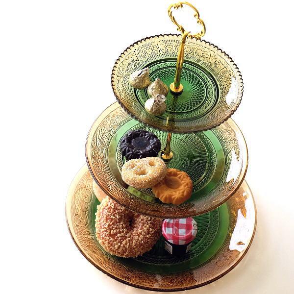 ケーキスタンド 3段 ガラス アンティーク おしゃれ ケーキ皿 スタンド ケーキプレート 洋食器 クラシック スイーツスタンド フレンチ ガラスの3段プレート AG [abk0895]