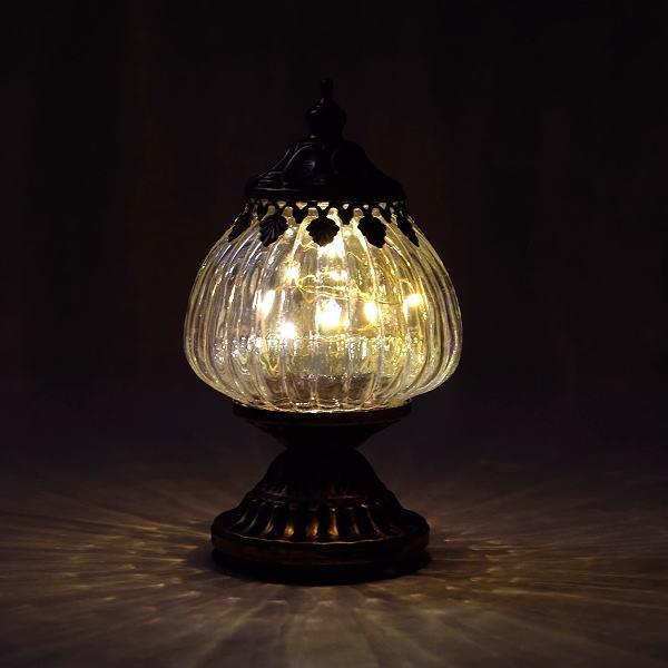 ランタン LED おしゃれ かわいい アンティーク ランプ インテリアランプ 小さめ 卓上 スタンド ガラス LEDミニランタンスタンド [abk3440]