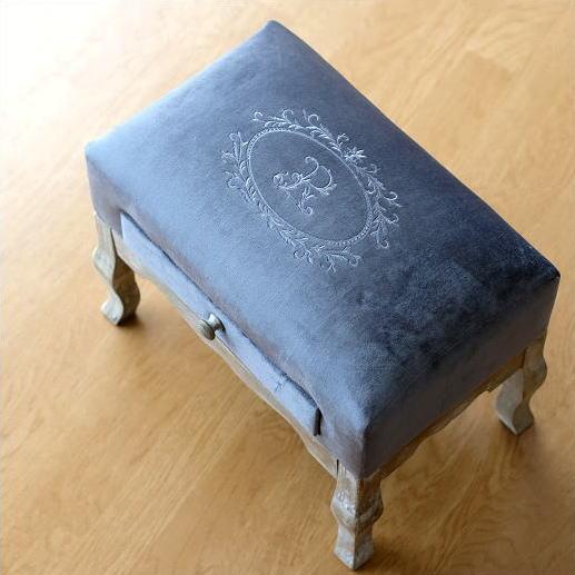 スツール アンティーク おしゃれ 椅子 布 クッション 木製 かわいい オットマン フットスツール コンパクト 玄関 足乗せ台 ローチェア ドロワーミニスツールB [abk5151]